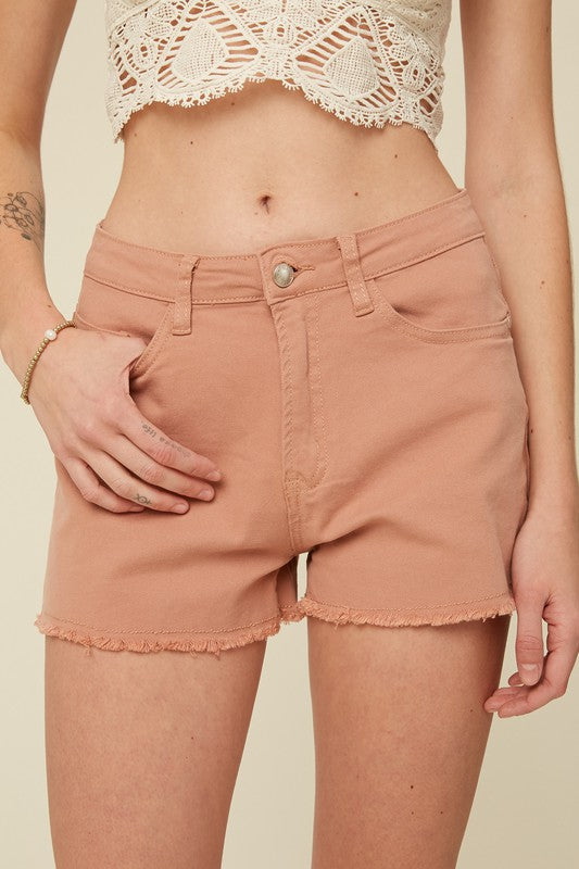 VINTAGE INSPIRED CUT OFF SHORTS WITH RAW HEM-Clay Rose
