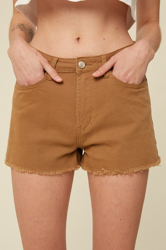VINTAGE INSPIRED CUT OFF SHORTS WITH RAW HEM-Mocha