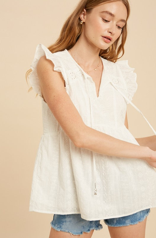 EYELET EMBROIDERED DRAWSTRING TOP