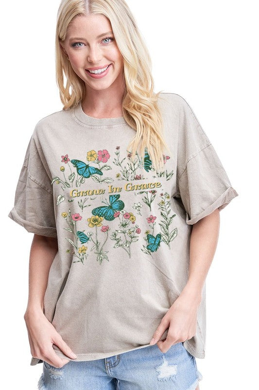 GROW IN GRACE  BUTTERFLY FLOWERS GRAPHIC  Taupe Mineral Wash Graphic Tee