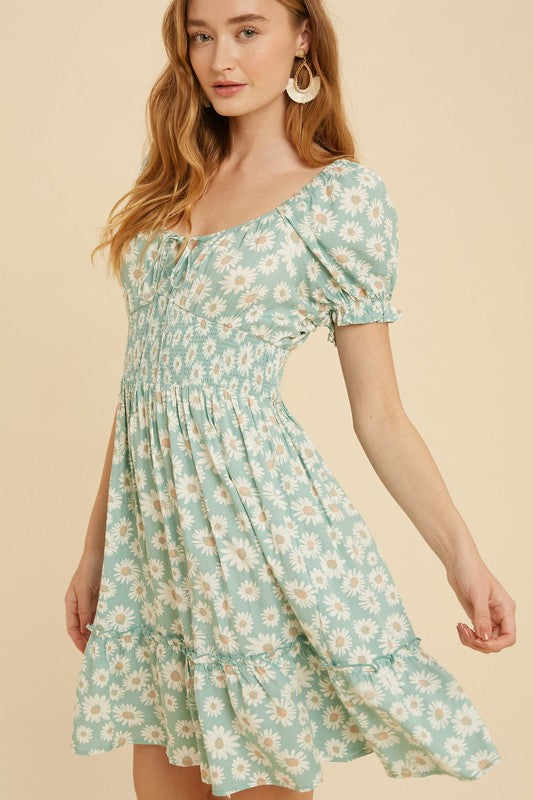 SMOCKED FLORAL SWEETHEART MINI DRESS
