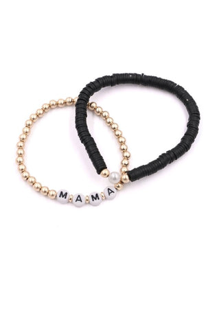 Disc Bead MAMA Stretch Bracelet Set (2 Colors)