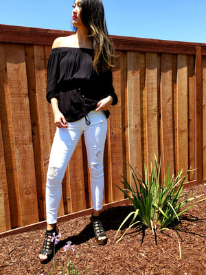 White Distressed Cropped Natali Jeans