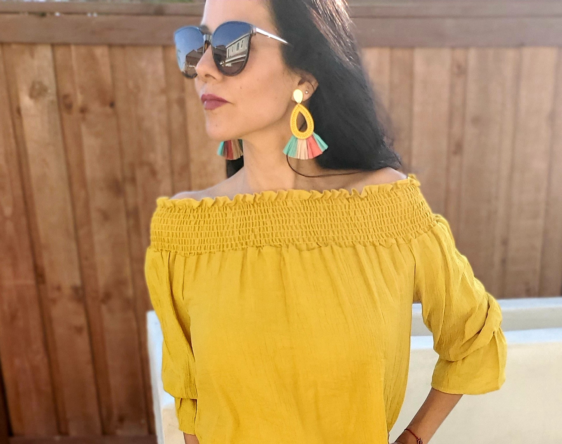 Yellow Teardrop Multi Colored Raffia Statement Earrings