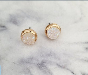 Dainty Round Druzy  Earrings