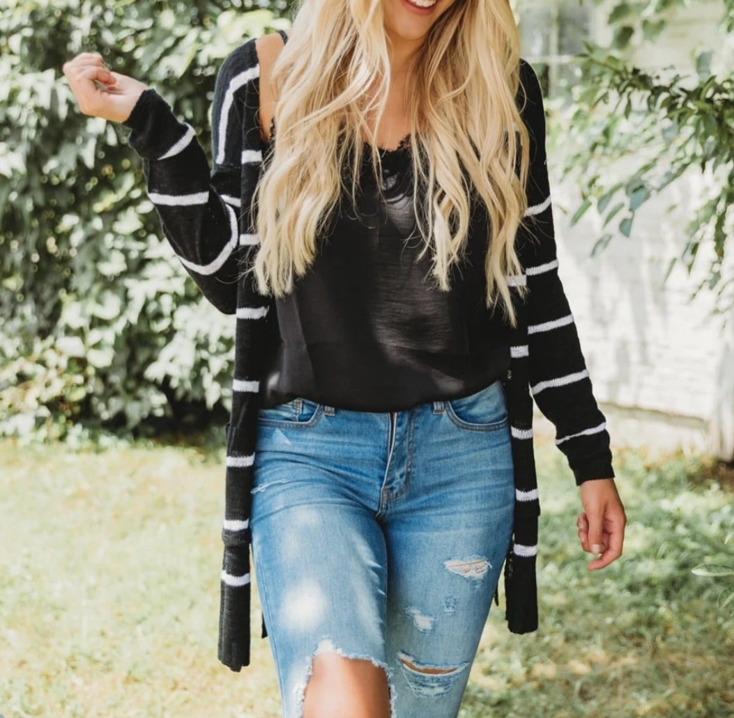 Striped Long Sleeve Open Cardigan