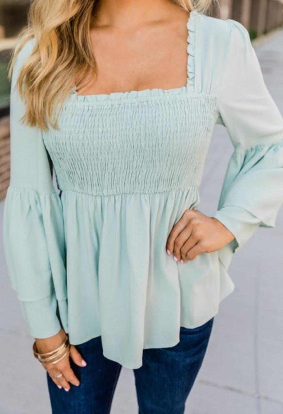 Sage Smocked Bell Sleeve Blouse