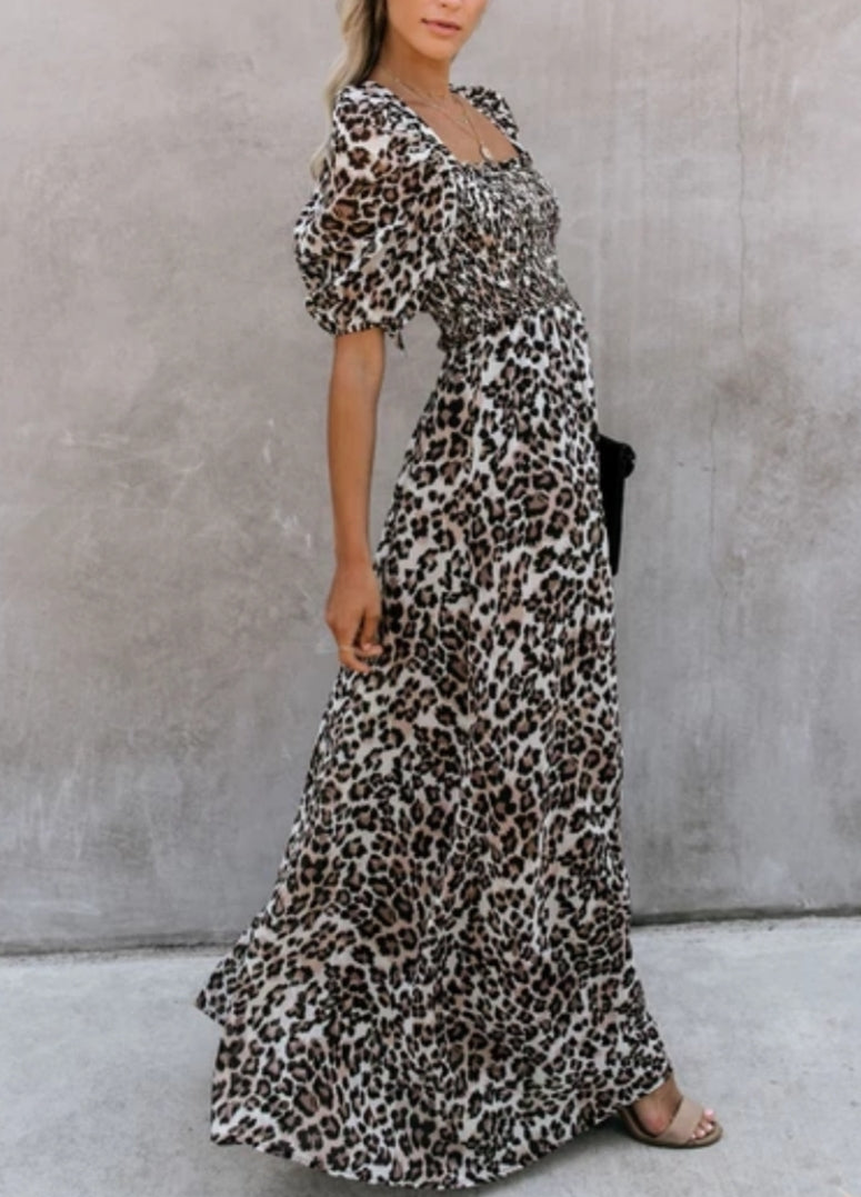 Leopard Smocked Maxi Dress