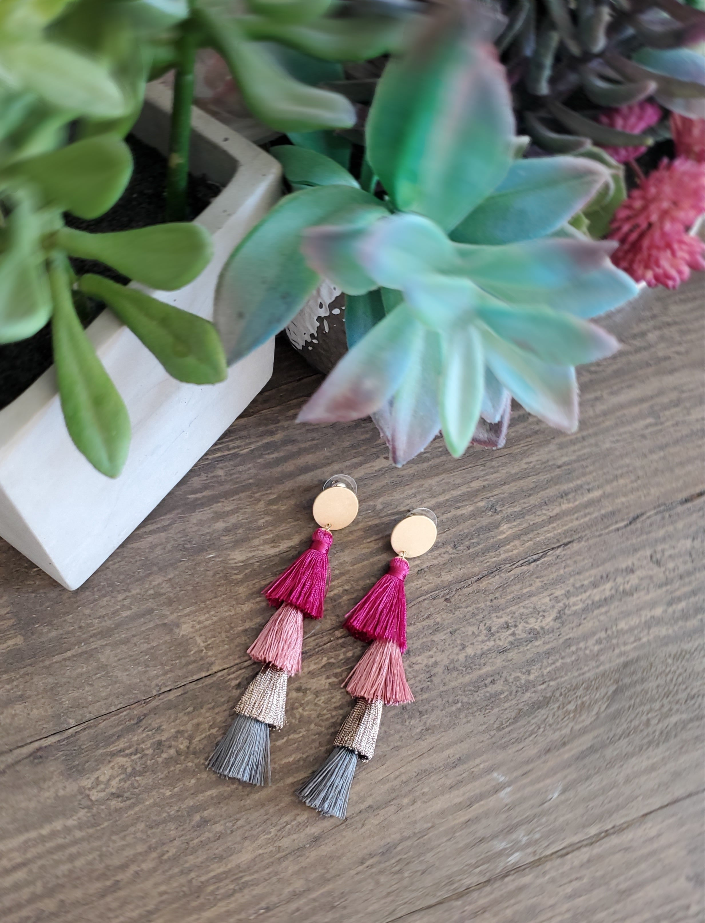 Four Tiered Tassel Earrings