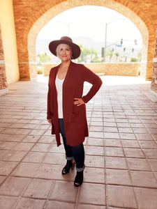 California Open Curvy Cardigan in Rust