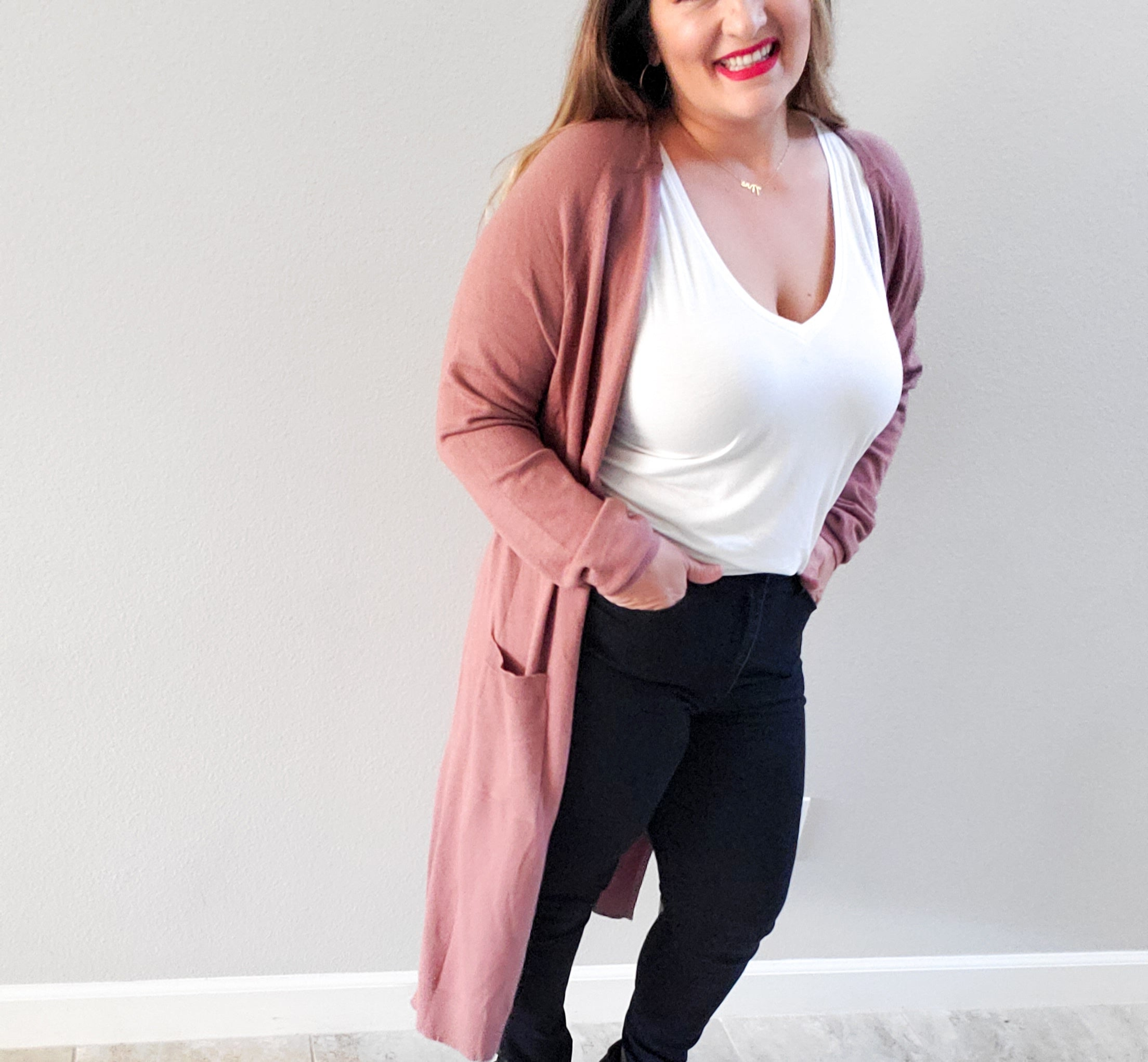 Long solid cardigan in  mauve