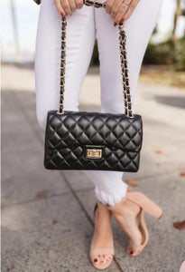 Black Quilted Chain Crossbody Handbag