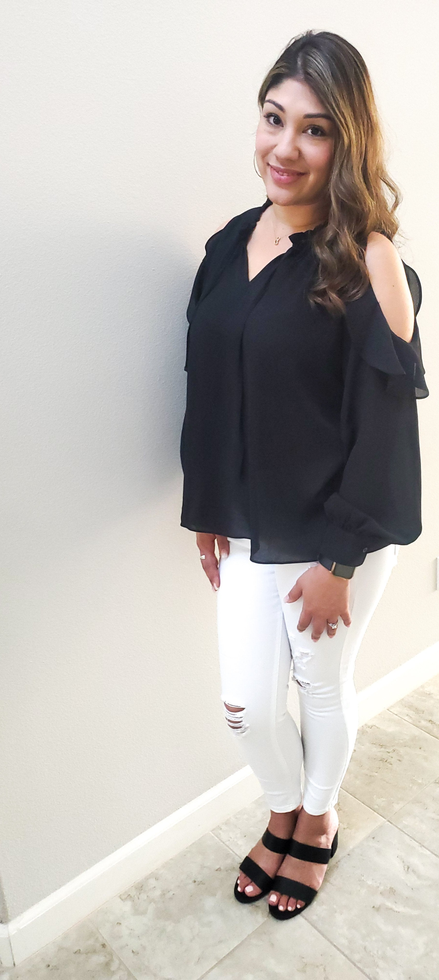 Getting Gorgeous  Cold Shoulder Ruffled Top