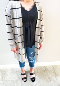 Natali Striped Long  Cardigan