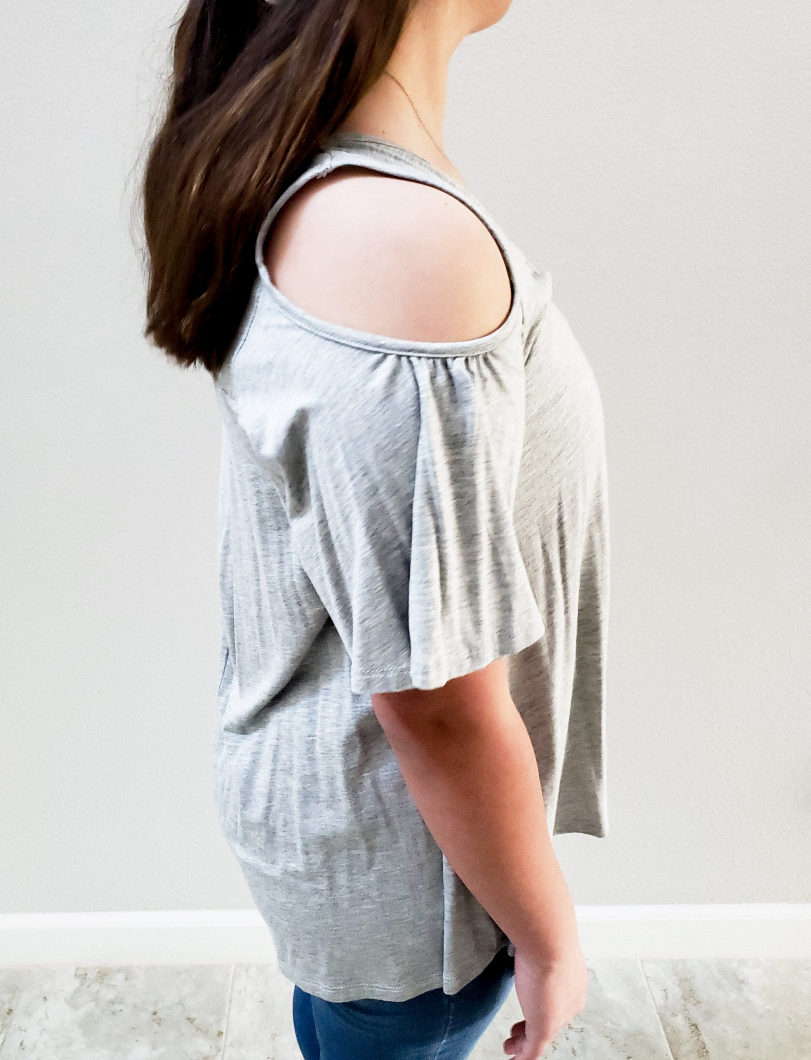 Short  Sleeve Cold Shoulder Top- Grey