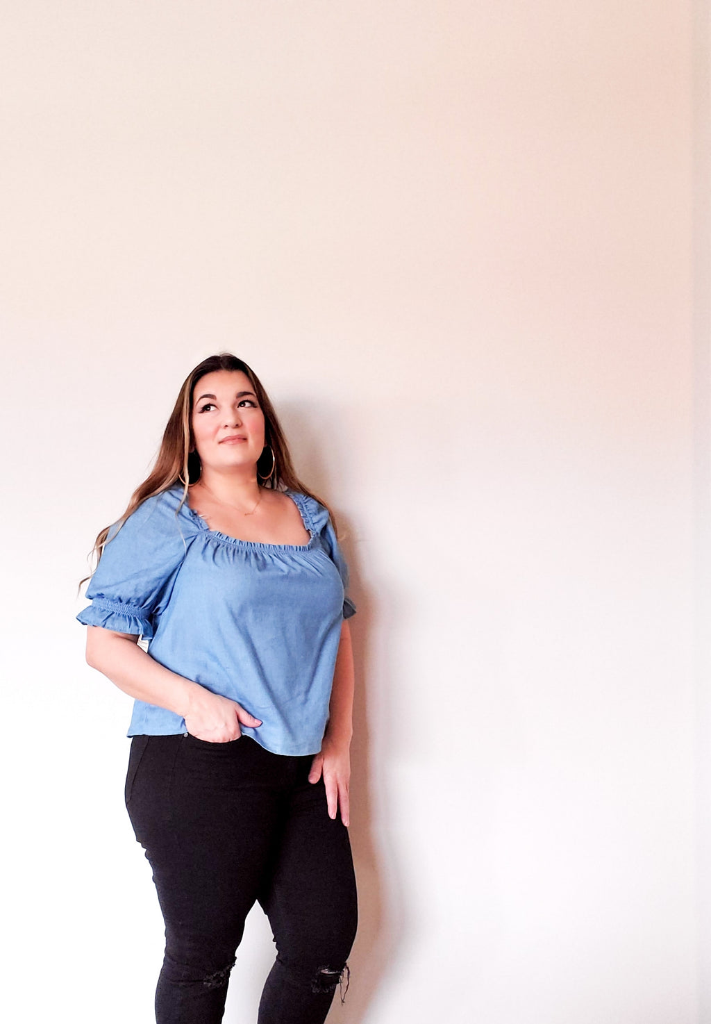 Square Neck Chambray Top