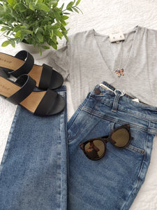 V-Neck  Grey Bodysuit
