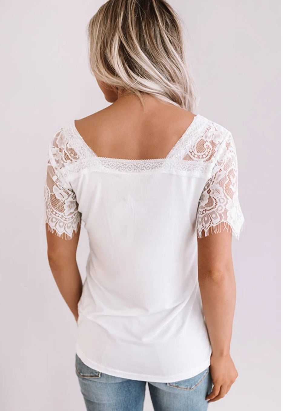 Sweet Side Lace V-Neck Top-White S-2XL