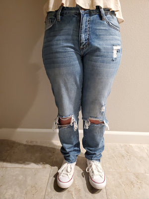 Distressed Knee Boyfriend Jeans