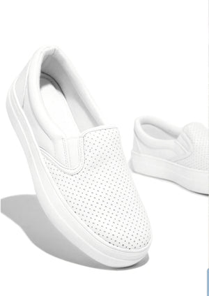 The Victoria Slip On Perforated  Platform White Sneakers