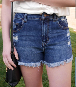 Elise Denim Shorts-Dark Wash