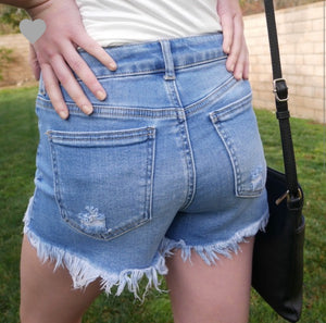 Frayed Edges Denim Shorts-Light Wash