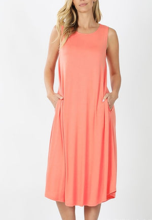 Michelle Sleeveless Crew Neck Shift Dress-Coral