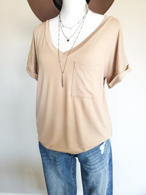 The Perfect Short Sleeve V-Neck Boyfriend Tee-Perfect Tan