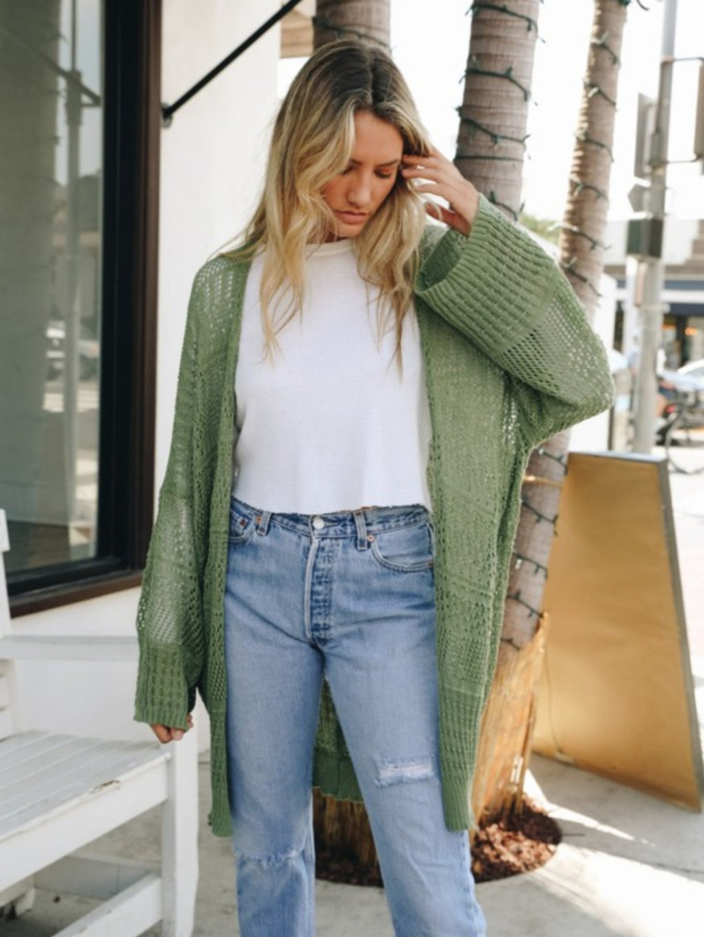 Knit Netted Open Cardigan-Moss