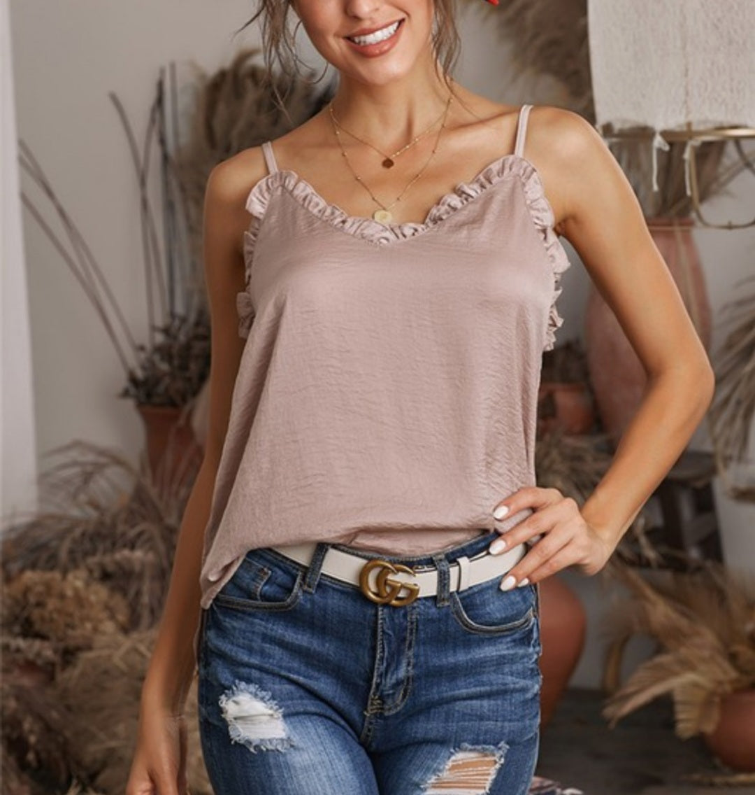 V-Neck Ruffle Camisole Tank Top-Apricot  (S-2XL)