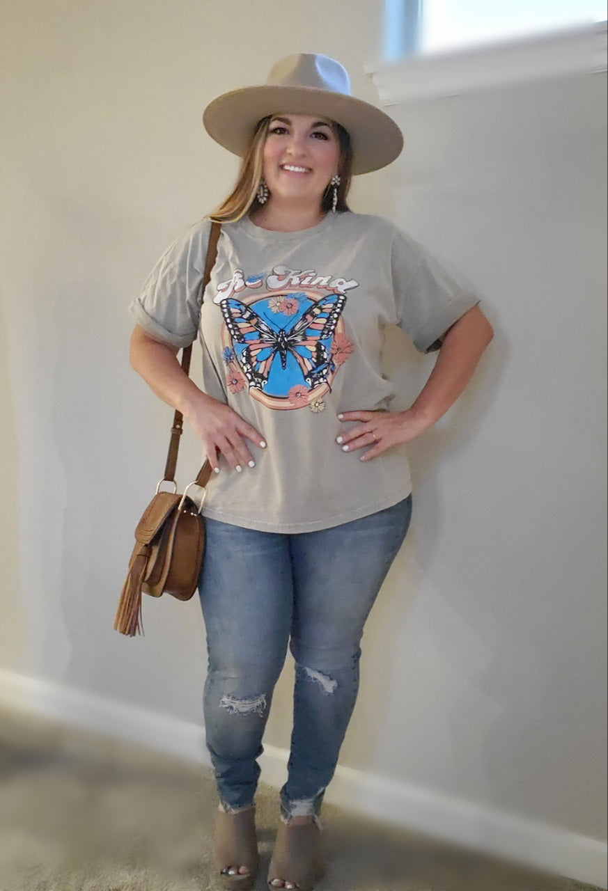 Be Kind Butterfly Taupe Graphic Tee