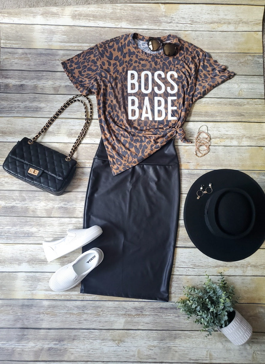 Boss Babe Leopard Graphic Tee