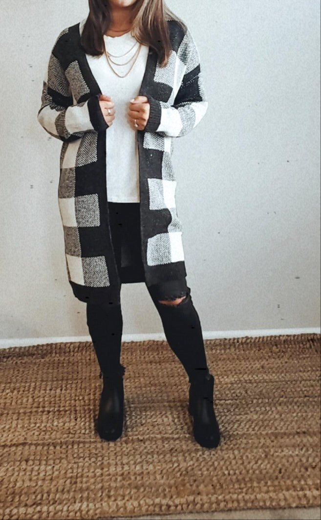 Knit Plaid Cardigan Jacket