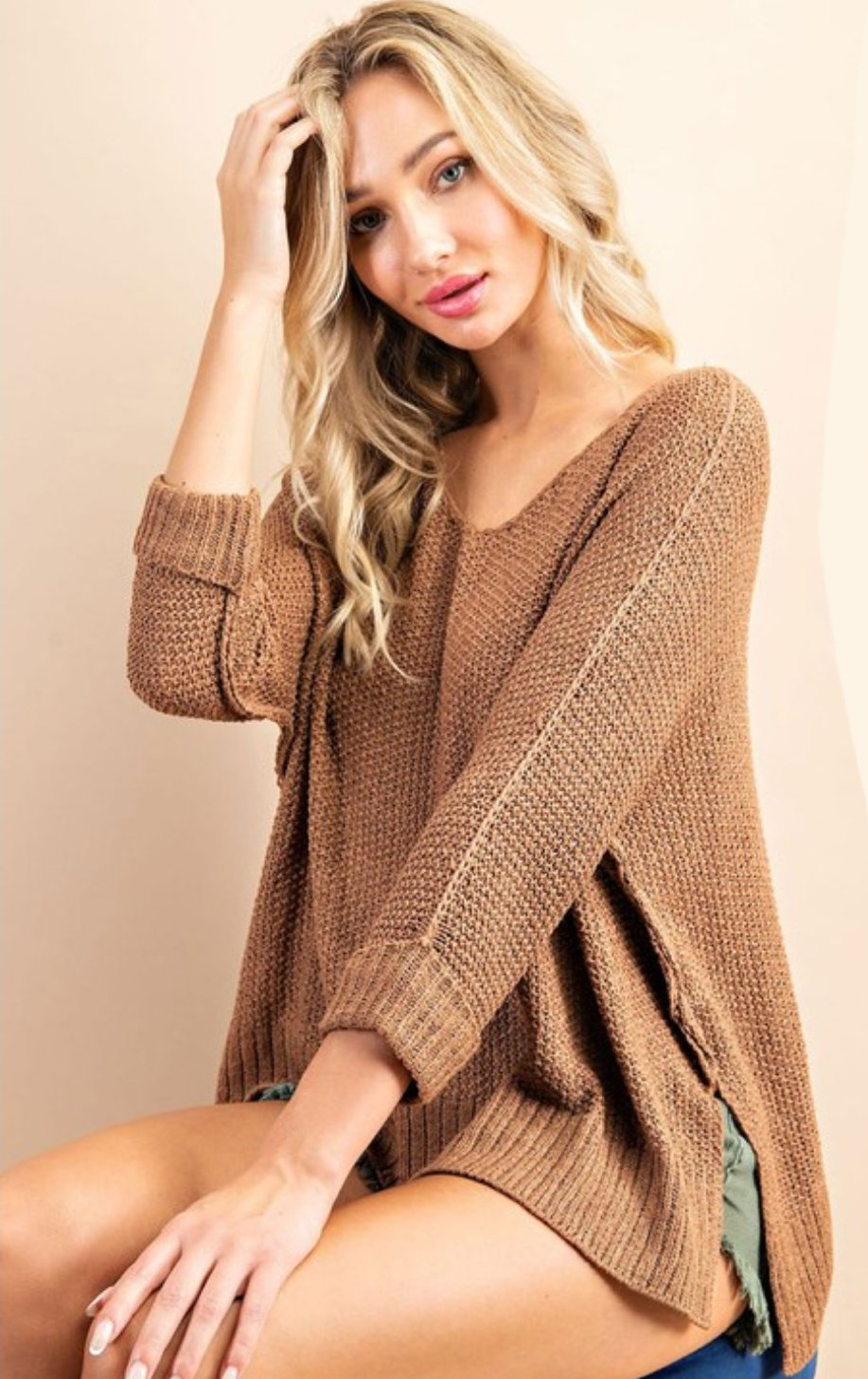Crew Neck Knit Sweater-Coco