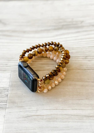 Semi Precious Stone Bead Apple iwatch Band-Browns
