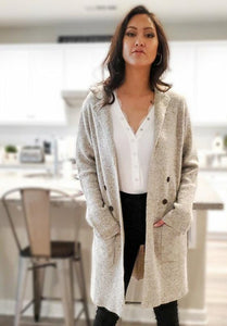 Double Breast Two Tone Yarn Open Cardigan