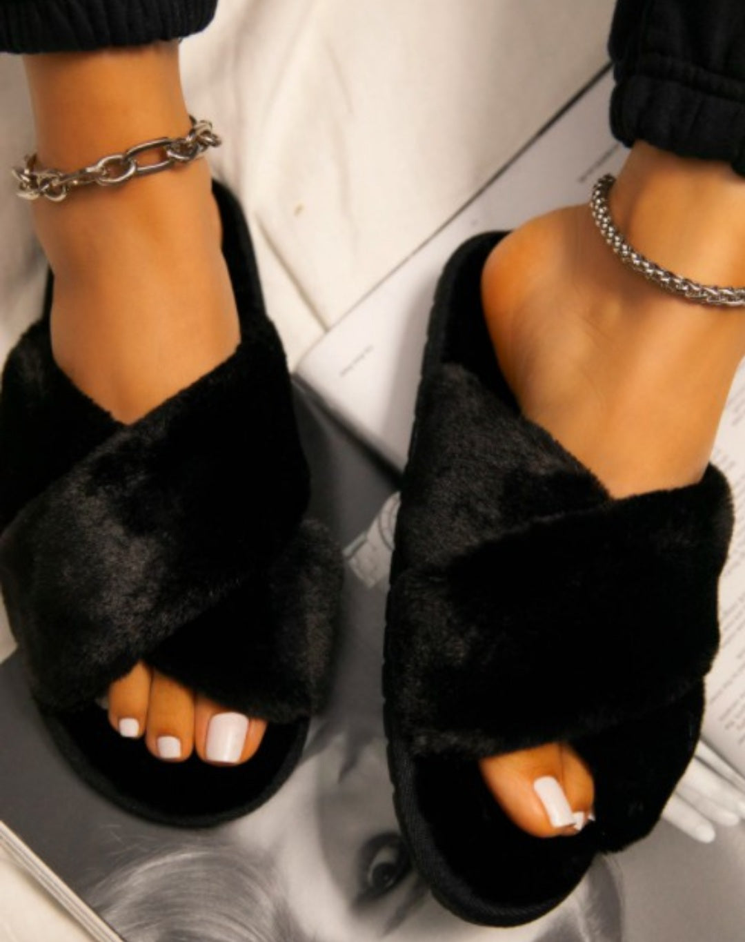 Layla Faux Fur Criss Cross Slide