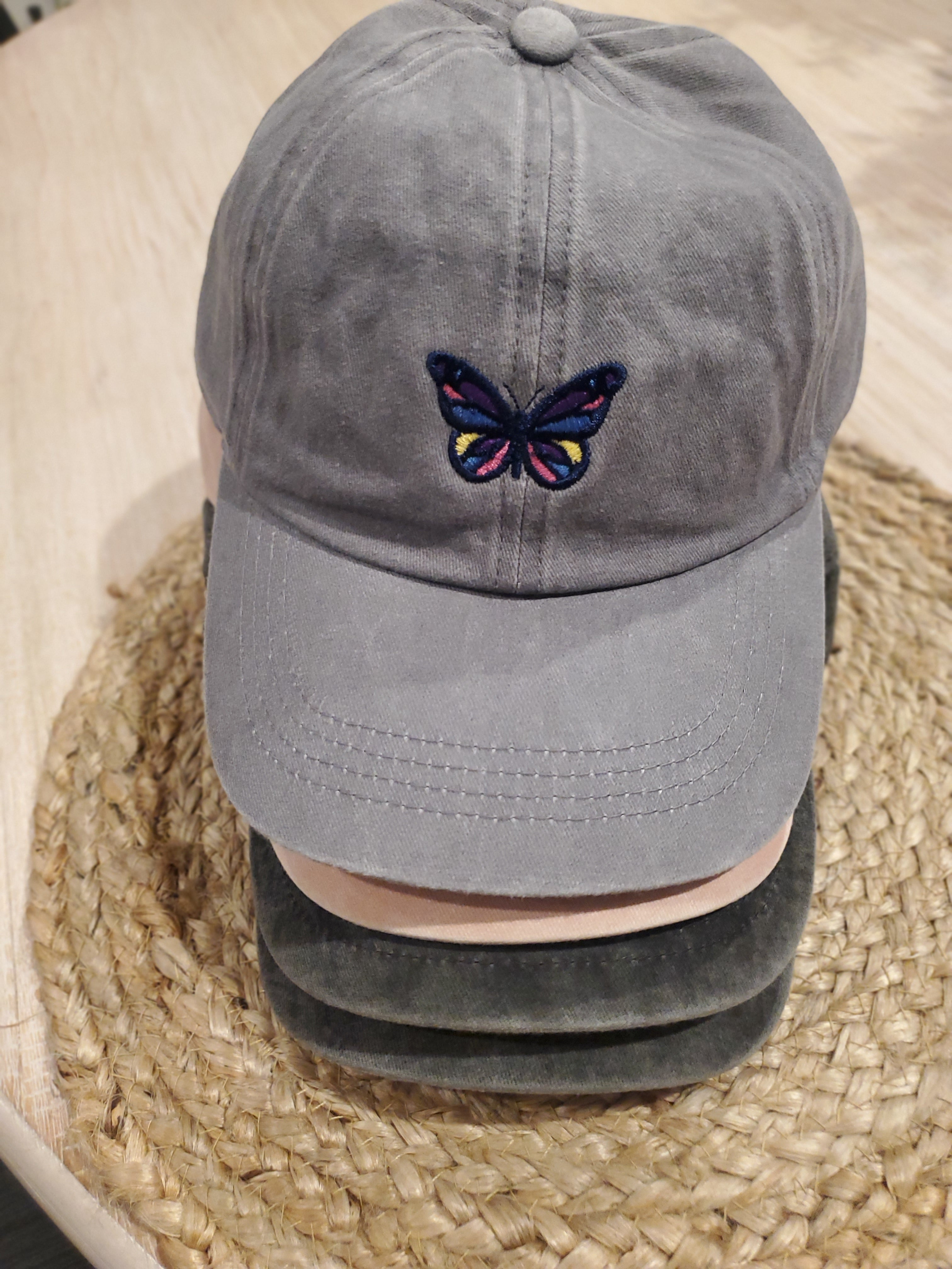 Embroidered Colorful Butterfly Hat