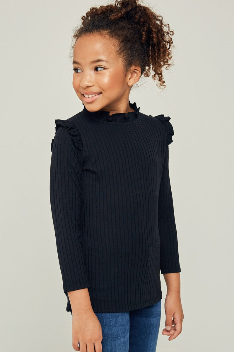 Kid's Ribbed Ruffled Mock Neck Long sleeve