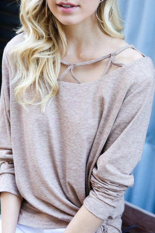 It's all about the detail long sleeve top in coffee(Final Sale)