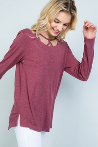 It's all about the detail long sleeve top Burgundy