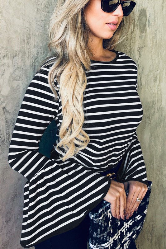 Striped Bell Sleeved Top