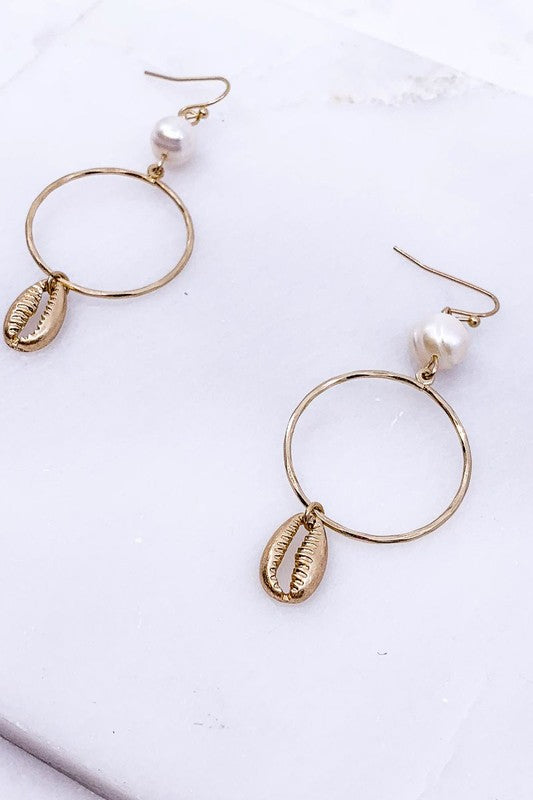 Cowrie Shell and Pearl Earrings