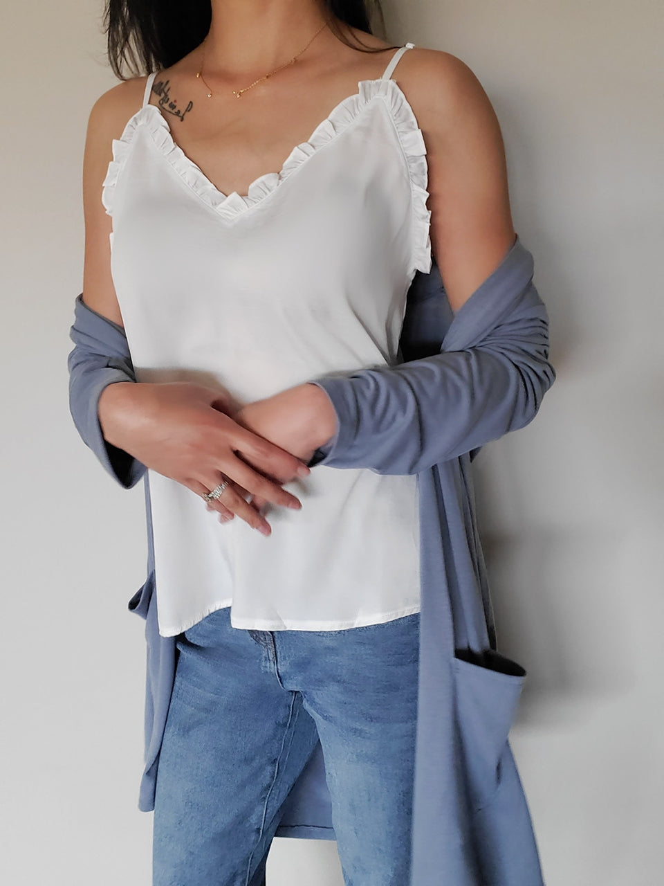 V-Neck Ruffle Camisole Tank Top-White (S-2XL)