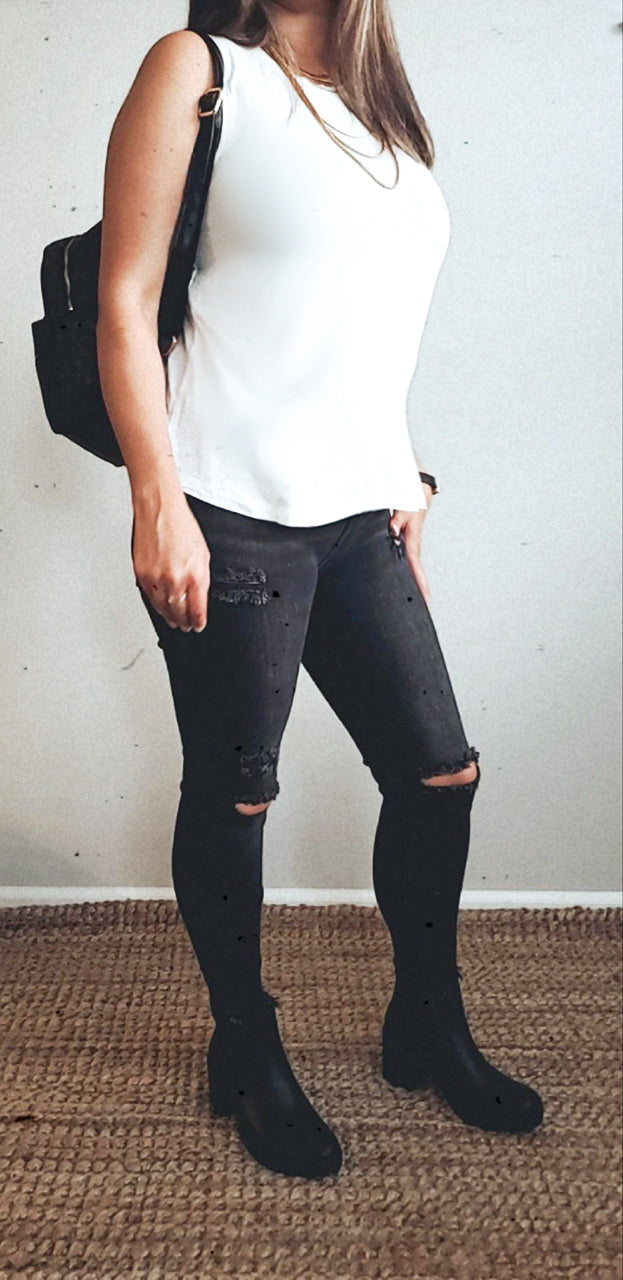 High Rise Charcoal Distressed Skinny Jeans