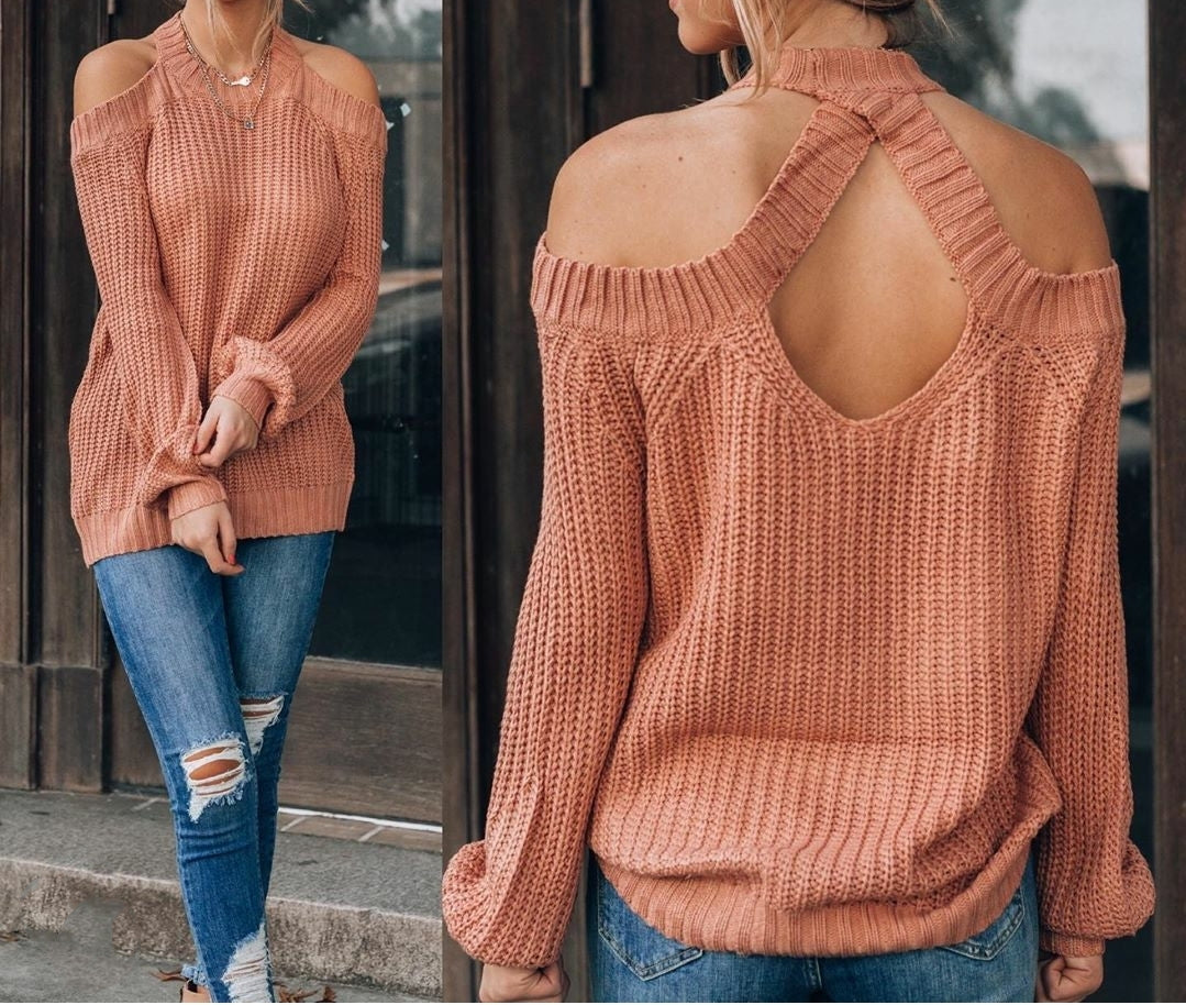 Cold Shoulder Sweater With Back Hole Detail