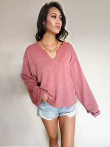 V-Neck Wide Long Sleeve Top