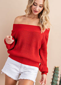 Feel Beautiful Knitted Sweater-Red