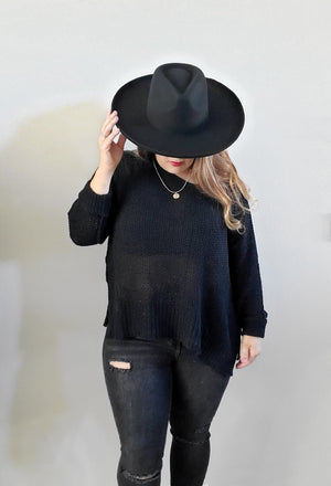 Crew Neck Knit Sweater-Black