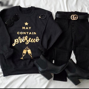 MAY CONTAIN PROSECCO GOLD FOIL GRAPHIC SWEATSHIRT